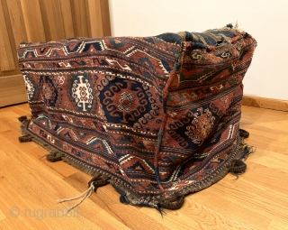 Antique Shahsavan Mafrash. 19th Century. Moghan Region. A complete and colorful tribal bedding bag. Excellent condition for age. Small hole in bottom corner. No repairs. Original goat hair tie down loop/handle. 8  ...