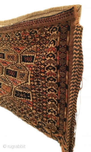 Antique Turkmen Yomud Torba. Last Quarter 19th Century. Curled leaf motif. Ivory ground. Complete bag: full back and side tassels. Excellent condition considering age. 6 colors. 1'11 x 2'10. Delicately hand washed.