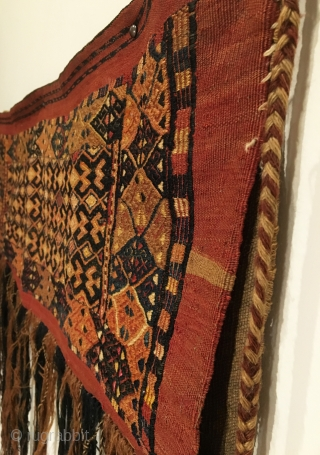 Antique Turkmen Torba Flatweave. Last Quarter 19th Century. Silk highlights. Mint condition considering age. 7 colors. 1'3 x 3'3. Delicately hand washed.