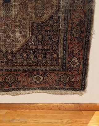 "Early Tribal Senneh.  Saffron yellow center medallion.  Two people woven above and below medallion.  Fine weave.  Great wall art.  Obvious wear.  8 colors.  6' 2""  ..."