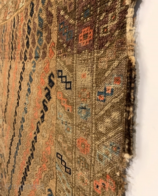 "Antique Baluch Rug. Last quarter 19th Century. Alternating Botehs on Camel field. Strong colors throughout including light steel blue, turquoise, apricot and purple. Original condition with no repairs. 12 colors. 5'2"" x  ..."
