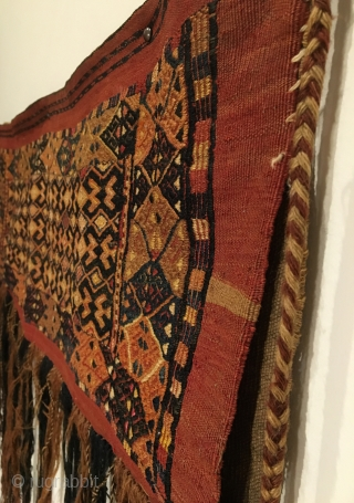 Antique Turkmen Torba Flatweave. Last Quarter 19th Century. Silk highlights. Mint condition considering age. 7 colors. 1'3 x 3'3.  Carefully hand washed.