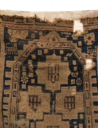 Antique Shirvan Rug. Perhaps a Prayer Rug? (Note Mosque Dome at top). Archaic Kufic border. Six creatures within field. Condition: 3 holes as shown with losses to top and bottom. 3'2 x  ...