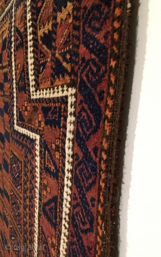 Timuri Baluch Prayer Rug.  Late 19th Century.  Tree of life design surrounded by many beautiful borders contrasted by white medical border.  Excellent condition, full pile.  5 colors.   ...