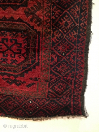 Afghan Baluch Rug.  Turkomen Guls.  Last Quarter 19th Century. Saturated color abrashed field.  Very good condition.  5 colors.  62 x 39.5in.  Delicately hand washed.