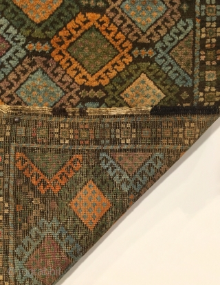 Antique Small Baluch Rug. Kurd. Last Quarter 19th Century. Jaf Kurd like saturated soft silky wool. The right balance of brown corrosion outlines colorful bird head diamonds. Original kilim ends. Excellent condition  ...