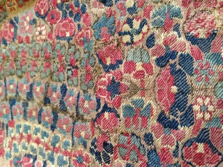 early 18th century Kashmir shawl. single sided border. approximately 16 X 55 inches,