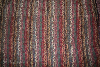 a antique kashmir katraj fragment shawl 1850th century...colors are very nice n rare....in fragment there 5 to 6 joints...you can see in pic..size 110cmx105.