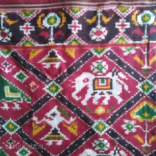 Antique 19-20th century double ikat patan Patola saree, nari Kung, little bit damage from start point pallu, 