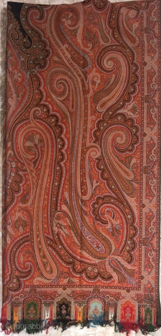 Vintage French Kashmir paisley shawl with fine  jamawar design in vibrant colour combinations of 1870 s the size of the shawl is 330cm X 160cms.