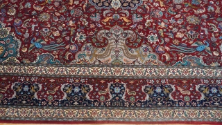 "Antique Persian Isfahan oriental rug, size is 9'8"" x 13'ft. (264 x 396 cm.), full pile, silk foundation and kurk wool, 441 kpsi, professionally hand washed and cleaned just recently, exquisite design  ..."
