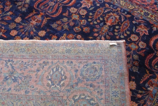 """Antique Persian Kashan Rug, the size is 10'7"""" x 13'8"""" ft.  circa 1880 -1900's, very good original condition and has a minor area of lower pile, Blue background, hand washed and  ..."""