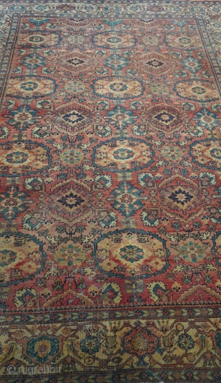 """Antique Persian Sultanabad rug, size is 8'10"""" x 11'8"""" (269 x 356 cm.), good condition, no repairs, hand washed professionally."""