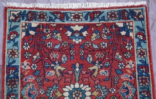 "Antique Persian Farahan very small rug, ca. 1900 , size 1'5"" x 1'7"" - 43 x 49 cm."