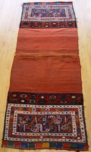 Antique Shahsavan Kkhorjin large Saddle Bags , size: 3' x 8'ft. (each bag is 2' x 3'), wonderful original condition , has been hand washed and cleaned professionally,