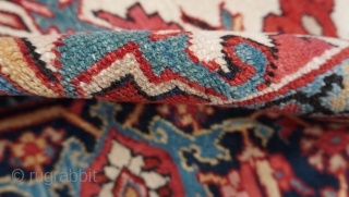 """Antique 1900s-1910s Persian Heriz rug, size is 8'6"""" x 11'3"""" ft. (259 x 343 cm.) excellent original condition, no wears, no repairs, professionally hand washed and cleaned."""