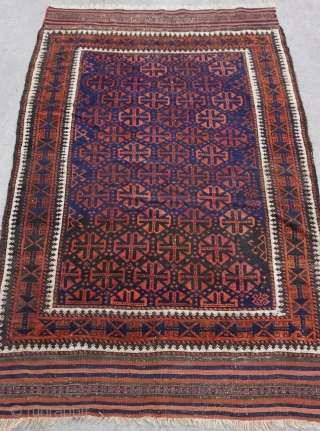 """Antique Baluch rug Blue & green background, measures (3'7"""" x 5'6"""" ft.) (109 x 168 cm.) very good condition, no wears, no repairs/restoration, professionally hand washed & cleaned just recently."""
