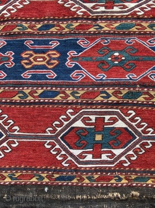 "A pair of Antique Caucasian Shahsavan Bag Face, 1'8"" x 1'9""ft. (51 x 54 cm.) ca. 1880's, very tightly woven, hand washed and cleaned."