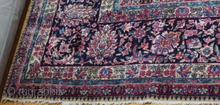 "Antique Persian Ravar Kerman oriental rug, ca. 1900  it measures (10' x 13'7"" ft) (305 x 414 cm.), very good condition with very minor areas of lower pile, professionally hand washed  ..."