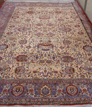 """Phenomenal Antique Persian pictorial Kashan palace size rug, circa 1850 -1880, the size is 12'9"""" x 19'4"""" (390 x 590 cm ), this is in wonderful original condition and it is super  ..."""