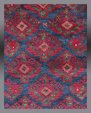 """Baluch Balisht, SE Persia, late 19th/early 20th C., 1'6"""" x 2'7""""     Balisht are originally conceived as 'pillow covers', made for  dowry to celebrate the marriage of a young woman.  As  ..."""