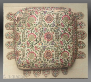 "Bhajoth (cushion) for a deity in a Vaishnavite shrineGujarat, India, circa 1800, 60 x 50 cm (23¾"" x 19¾""), silk embroidery on cotton