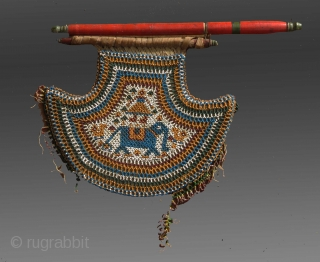 "Beaded Fan, Gujarat (W. India), circa 1925, 10""x  10"" (excluding the top end, wood, etc)