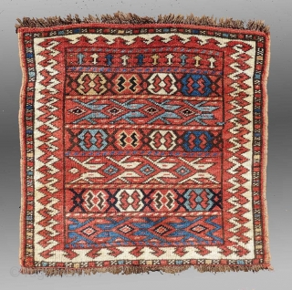 """Kurd Bag Face, NW Persia/S. Caucasus, 19th C., 1'10"""" x 1'9""""     One of those difficult to attribute weavings from NW Persia.  With some elements of Caucasian design, the weave seems to  ..."""