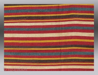 """Uzbek or Turkmen(?) Jajim, Central Asia (middle Amu Darya region),  late 19th/early 20th Century, 5'10"""" x 4'4""""  An exceptionally colorful flat weave, intended to be used as a cover or to wrap up  ..."""