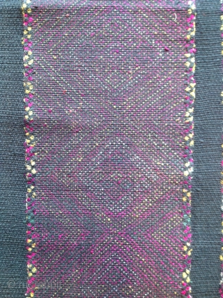 Mrauk Breast coverlet. Arakhine state, Burma Early 20th century Supplemental weft patterning in silk on cotton. 13 x 25 inches