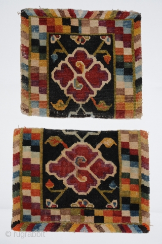 Tack Carpets. Saddles or possibly cruppers. All good color. Both pieces have a few rows of reweave across the bottom 11x13 12x14 Early 20th century. Tibet