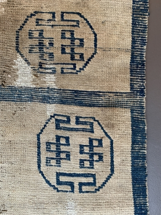Door rug from Tibet. With some old repairs and holes.  Basically in a weak condition as you can see from the pictures. But it is the rare and early type of  ...