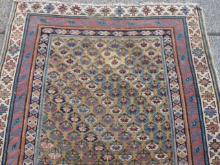 """8'3"""" x 4'   Antique Kurdish runner with low pile and a couple of crude repairs."""