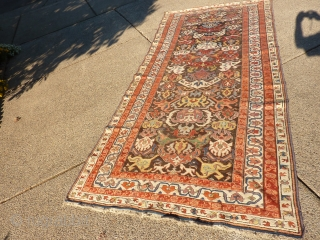 """Antique Bijov: some repiling, ends, corners and sides are pretty good, some fuschine and oxidation. 5' x 10' 7"""" SOLD"""
