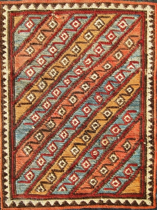 Lovely antique shahsavan sumac bag in stripe design, good colors, age and condition.