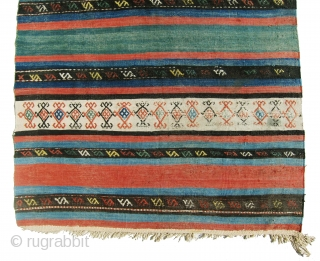 """Gorgeous antique Shahsavan killim in great colors, all colors are natural, great example of colorful Shahsan antique killim. size is 3'-11""""x6'-11""""."""
