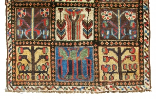 "Very old and antique Bakhtiari fragment, great and absolutely old example. size is 4'-4""x3'-5""."