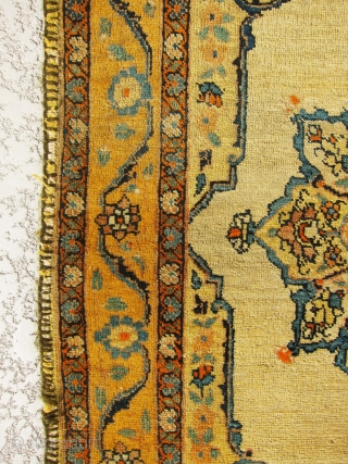 Absolutely gorgeous, rare, antique real Haj Jalili Tabriz small rug with very unique and rare Zaffron color on the border. Extraordinary piece in small size.