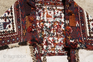 """Extremely gorgeous, antique Qashqai sumac complete large bag, fantastic animal design, awesome old vegetable dyes in large size, size is 3'-1""""x2'-7"""""""