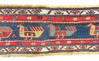 """It is nice sumac band fragment, absolutely gorgeous and very old piece from shahsavan. Size 6'-4""""x8"""""""