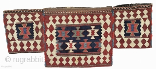 Rare and beautiful 19C Shahsavan kilim bagface, approx 42cm x 35cm.