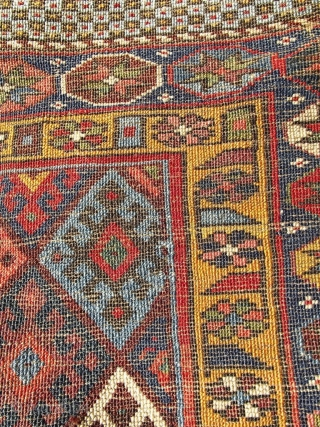 Terrific quality 19C Jaff bagface with superior color - I count 14 wonderful natural colours including a lovely rare yellow and gold border and a great aubergine. Note too the light turquoise  ...