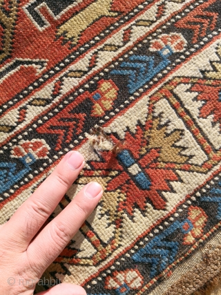 Antique Shirvan Kuba 19th century a very tiny hole to repair low pile but not that worn and need a good wash. 166 x 120 cm