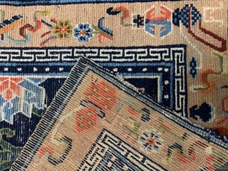 Beautiful Tibetan rug circa 1900, it has low pile but still a real beauty Size is 125 x 77 cm