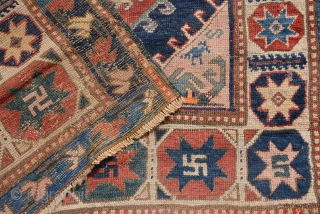 Dated (1908) Caucasian Karabagh Rug with star gulls, some repile areas as you can see on pictures. size is 274 x 125 cm.