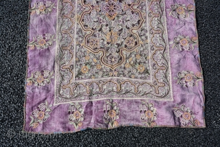 A Persian Rasht Embroidery on velvet End 19th century or Early 20th century, size is 127 x 92 cm
