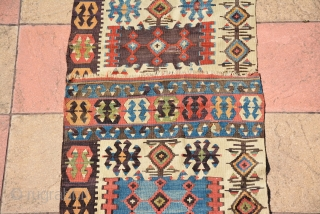 Antique Turkish Budur Kilim (one side) 19th Century, Lovely colours, size 450 x 80 cm