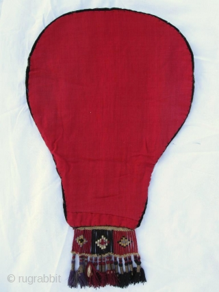 Antique Kirghiz nomads tent decoration, Central Asia, silk embroidered on black velvet foundation, have a very fine fringe, circa 1900. Size is 22x13 inches, 55 x 33 cm with fringe.