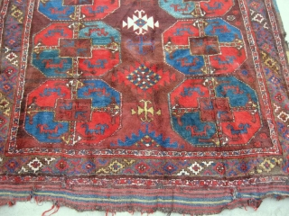Antique Uzbek Karakalpak rug, Central Asia, circa 1920, nice colors. In very good condition, full pile, have some damaged places, see photos.  Size is 350 - 175 см, 12' x  ...
