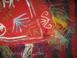 Uzbek nomads Lakai Horse cover, very fine embroidery on red felt with original fringe, late 19th, in very good condition, the embroidery in some places was restored. Size is 170 - 135  ...